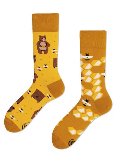 MANY MORNINGS SOCKS - SOCKEN  - GELB GEMUSTERT - REGULAR - HONEY BEAR