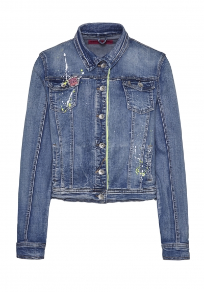 Jeansjacke - denim - blau - used - neongrün - Colorcrash - 9741