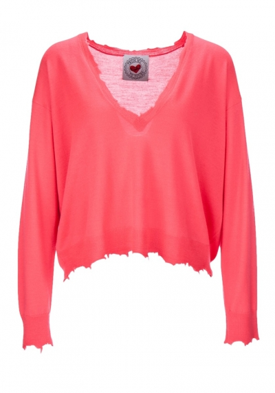 Neon - oversize - Pullover - rot - koralle - Frogbox - 801001