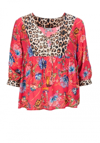 Bluse - Tunika - Patch - Leo - india - flower - rot - Frogbox