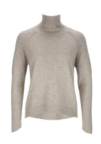Pullover - turtle neck & ribs - sandfarben - Frogbox